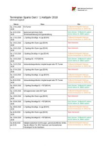 BSVH Terminplan 1. Halbjahr 2017